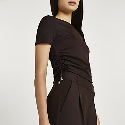 Brown ruched short sleeve t-shirt