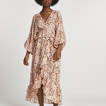 Brown ruffle animal print v neck midi dress