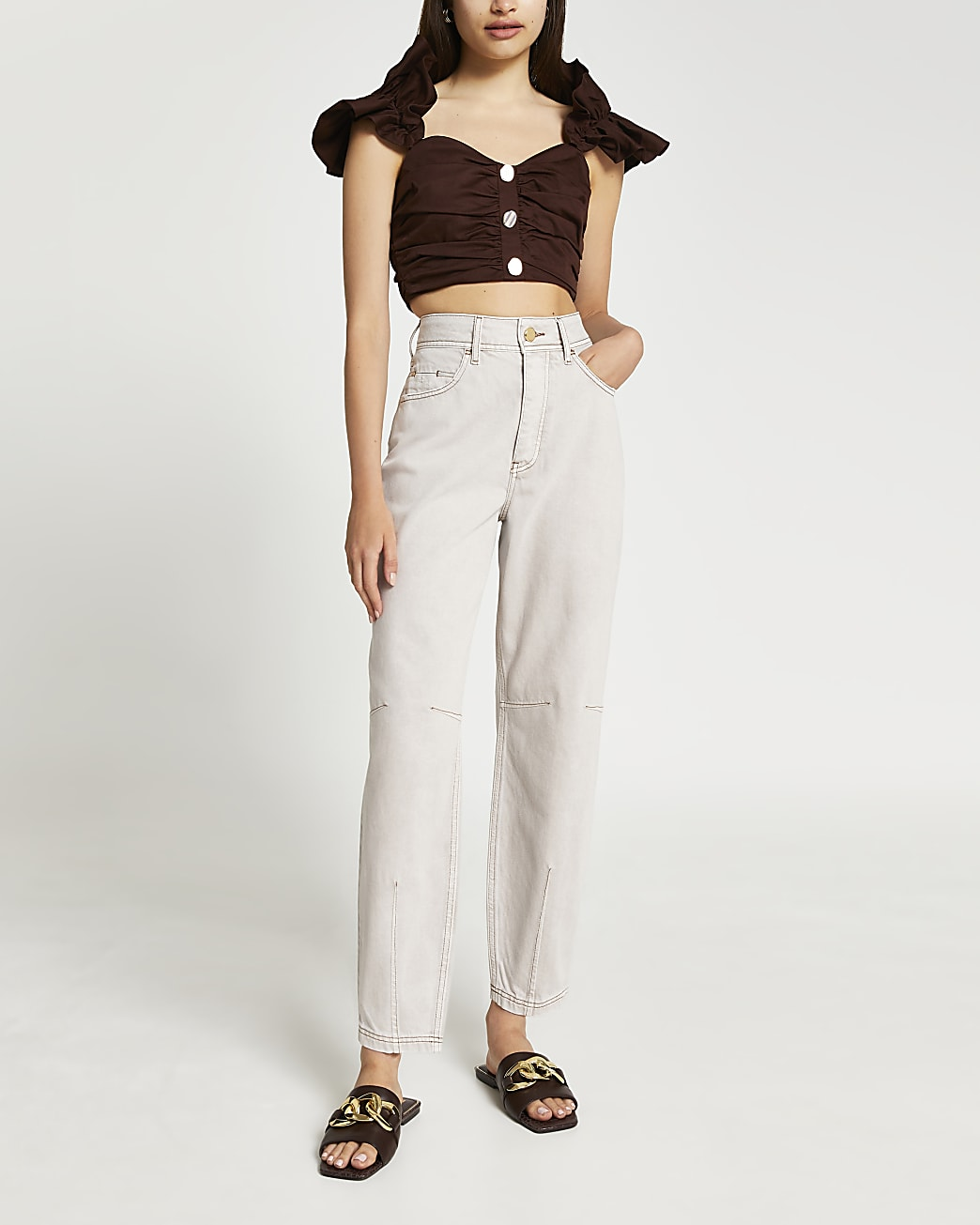 Brown ruffle strap ruched crop top