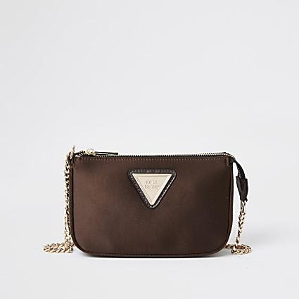 Brown Satin underarm handbag