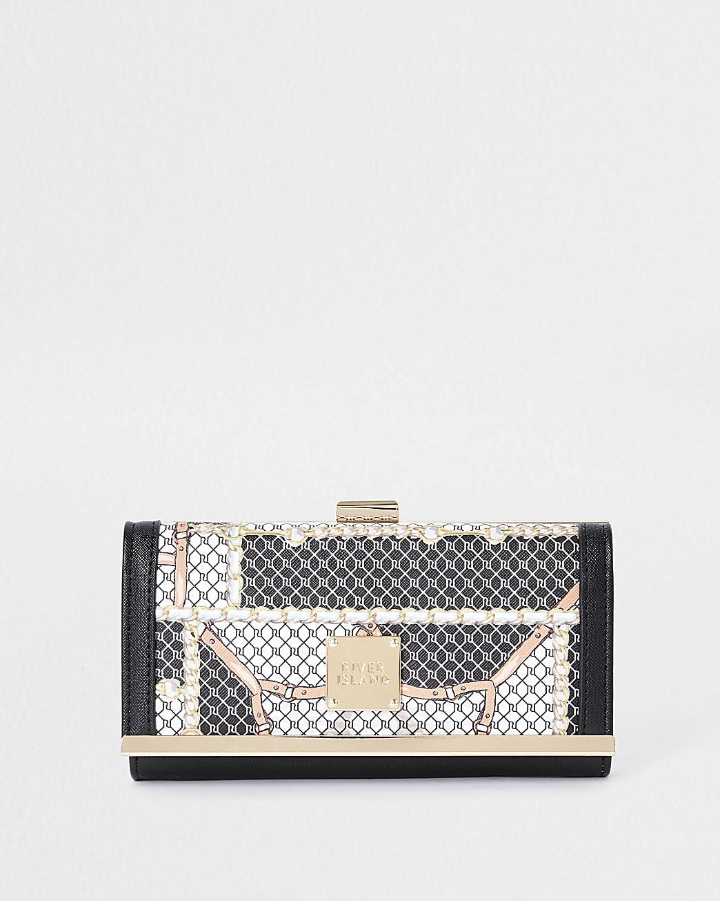 Brown scarf print cliptop purse