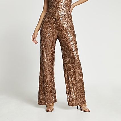 Brown sequin wide leg trousers