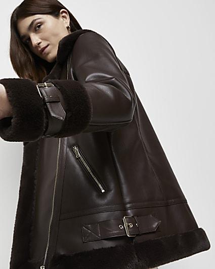Brown shearling oversized aviator coat