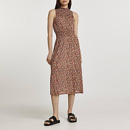 Brown shirred waist animal print midi dress
