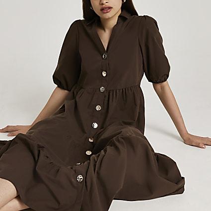 Brown short puff sleeve tier shirt midi dress