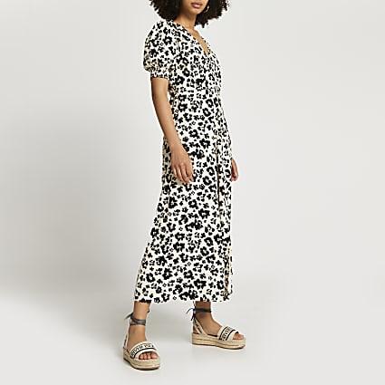 Brown short sleeve button down midi dress