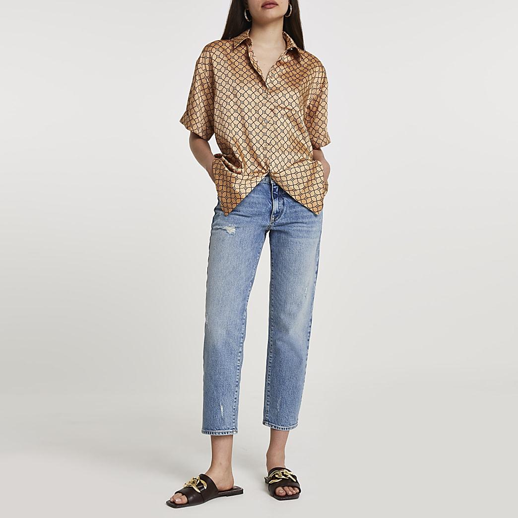 Brown short sleeve monogram shirt