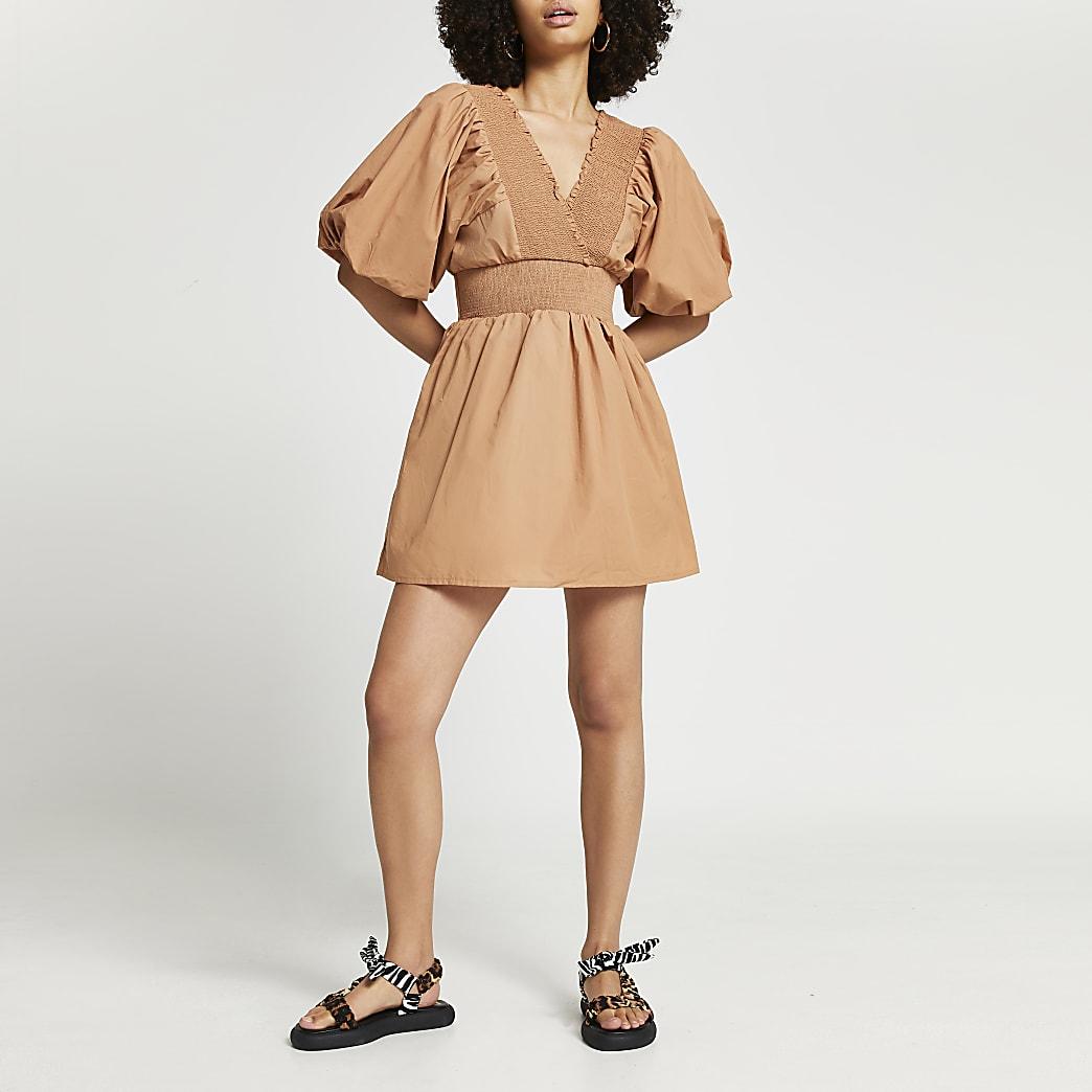Brown short sleeve shirred playsuit