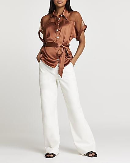Brown short sleeve tie waist shirt