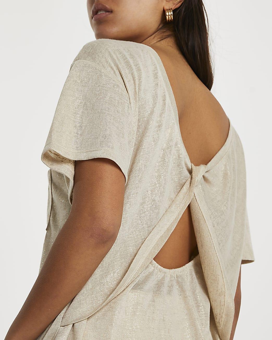 Brown short sleeve twist back t-shirt
