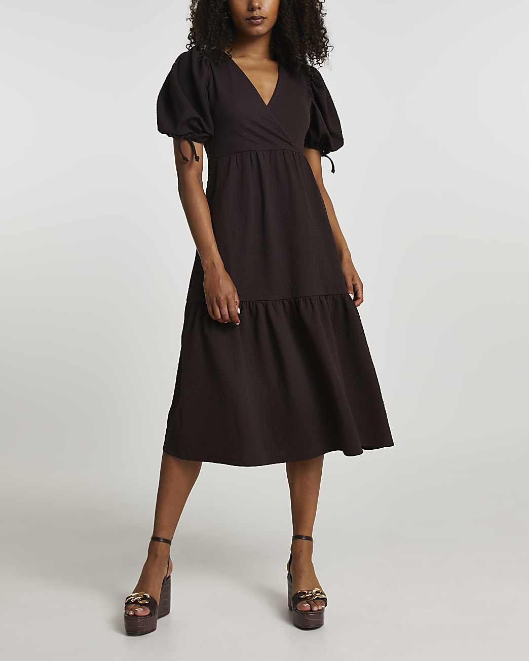 Brown short sleeve wrap midi dress