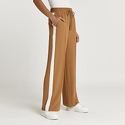 Brown side stripe wide leg trousers