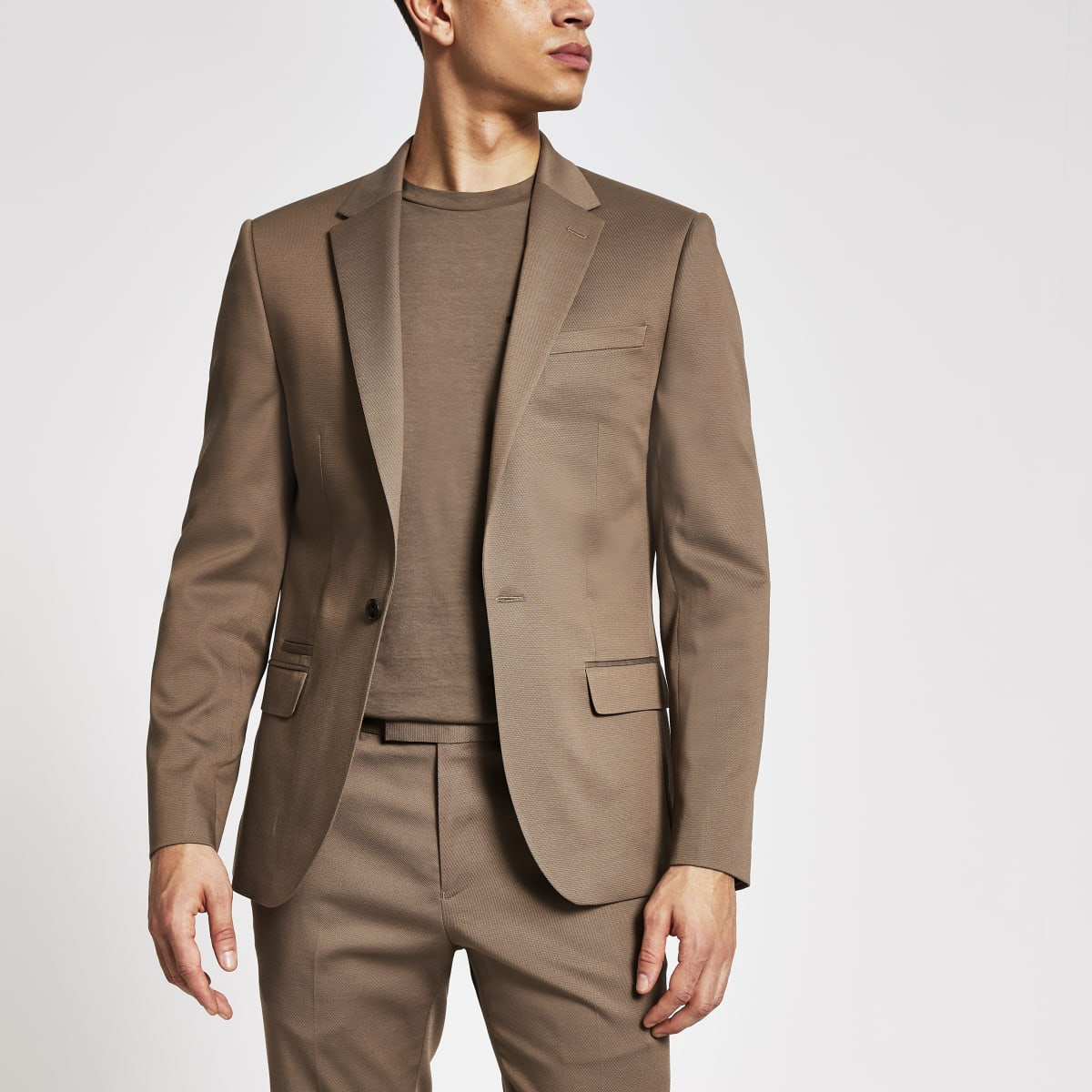 Brown single breasted skinny fit suit jacket