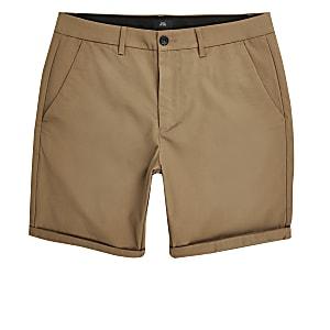 Brown skinny chino shorts