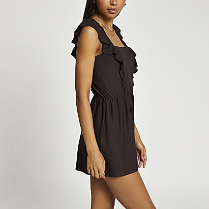 Brown sleeveless frill front playsuit