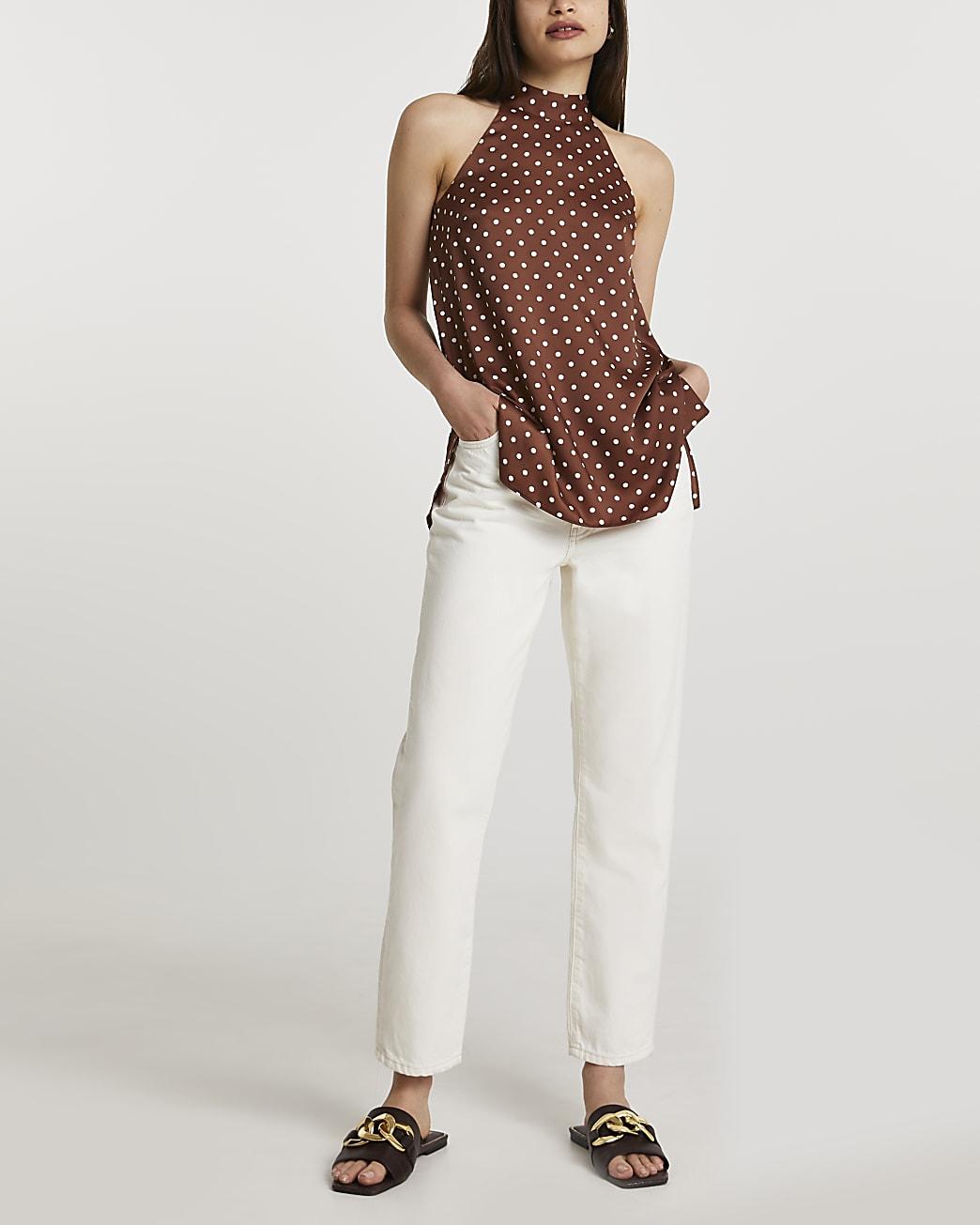 Brown sleeveless halter neck top