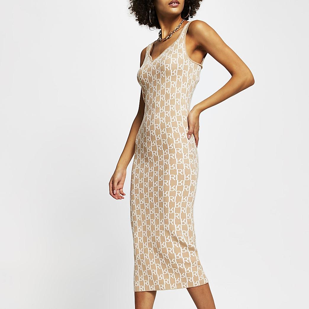 Brown sleeveless RI print body fit dress