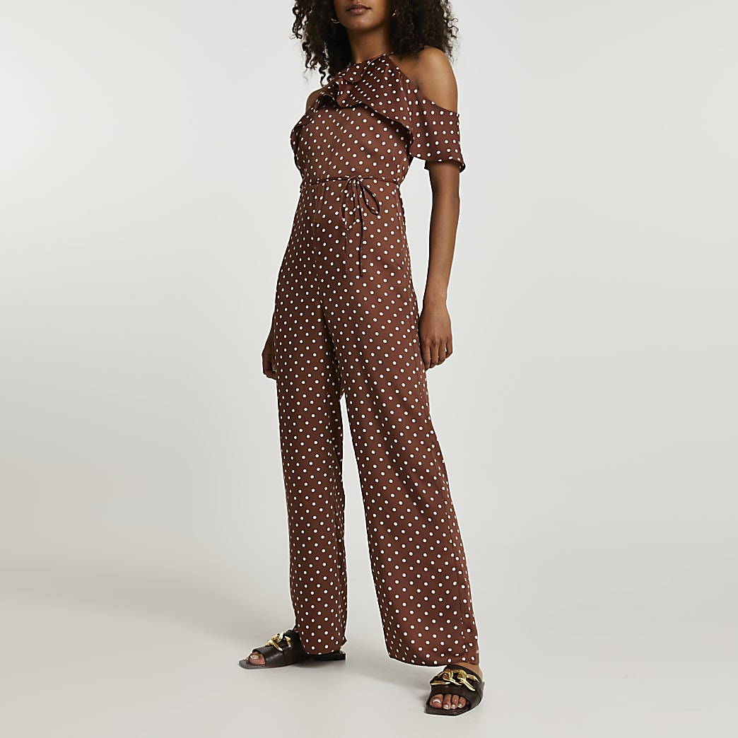 Brown sleeveless spot cold shoulder jumpsuit