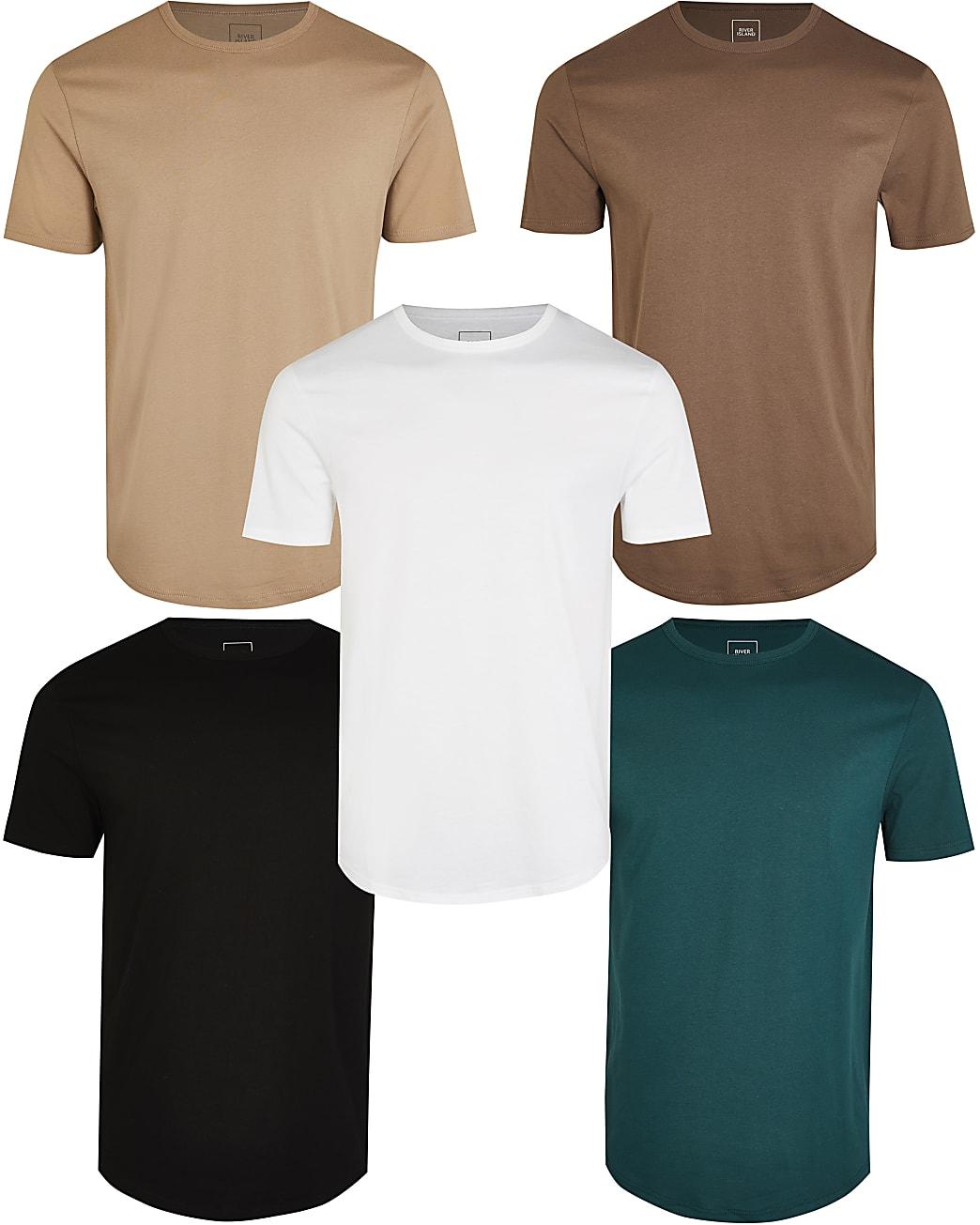 Brown slim double curve hem t-shirt 5 pack