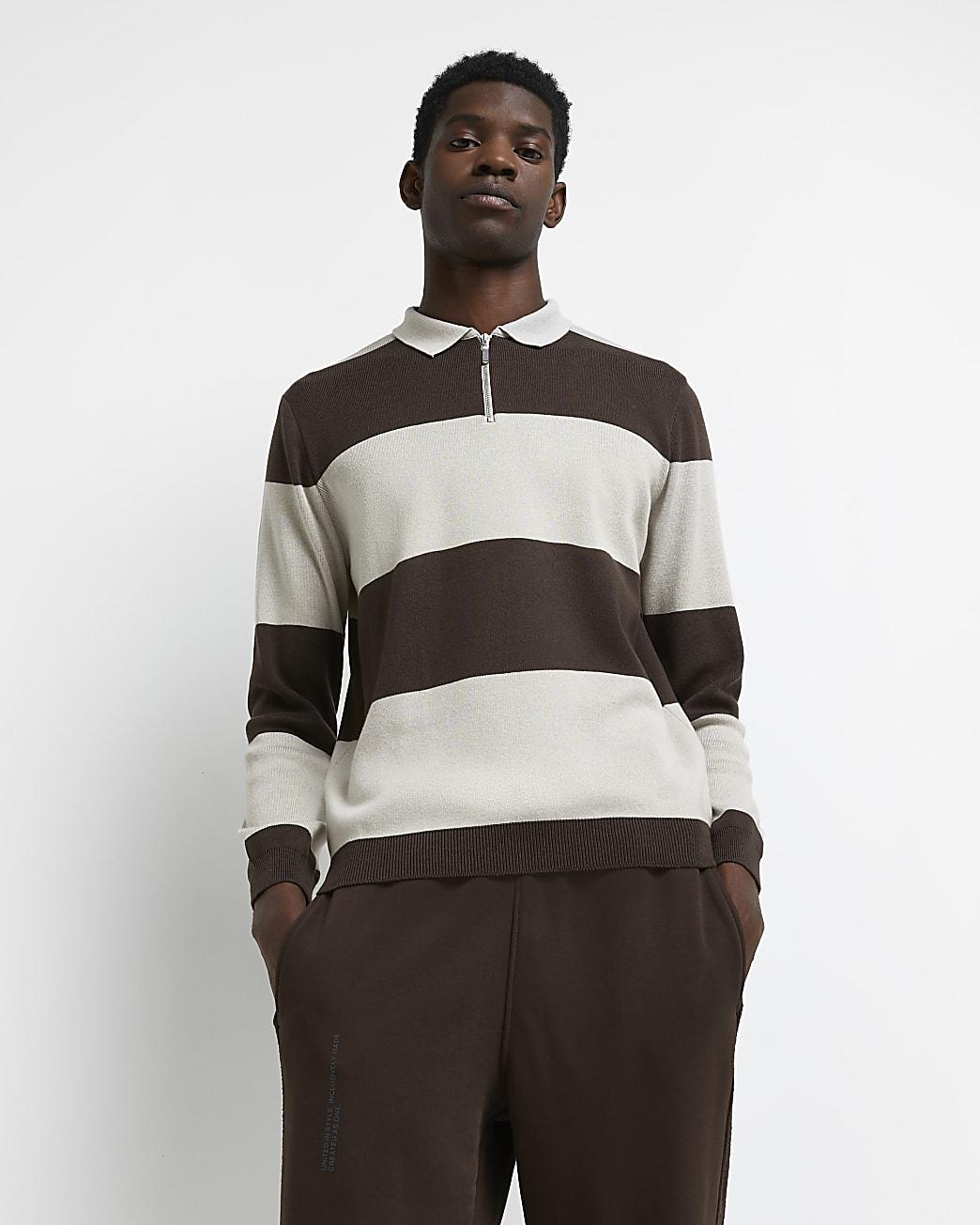 Brown slim fit colour block polo shirt