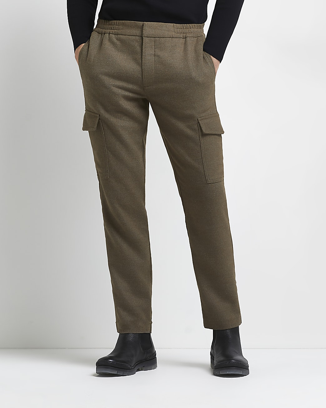 Brown slim fit flannel cargo trousers