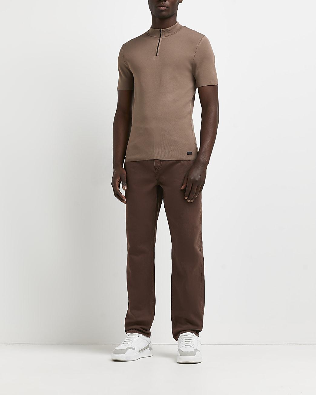Brown slim fit half zip smart knitted t-shirt
