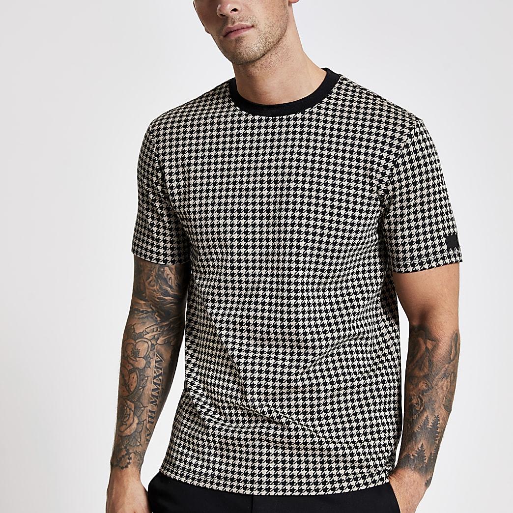 Braunes Slim Fit Jacquard-T-Shirt mit Karomuster