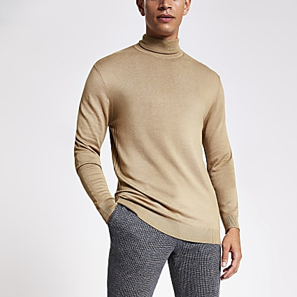 Brown slim fit roll neck knitted jumper