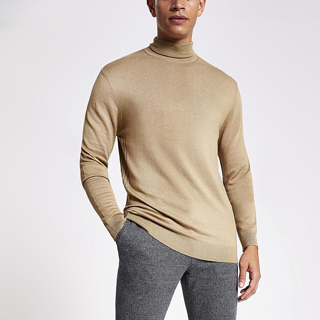 Bruine gebreide slim-fit pullover met col
