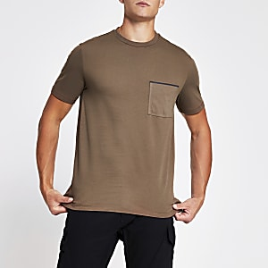 Brown slim fit short sleeve pocket T-shirt