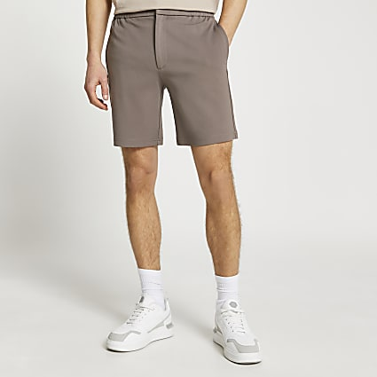 Brown slim fit shorts