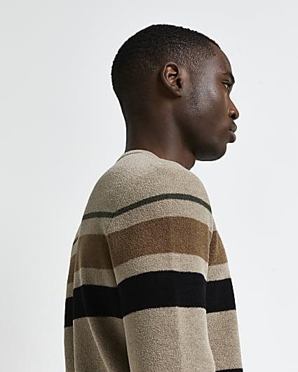 Brown slim fit striped towelling jumper