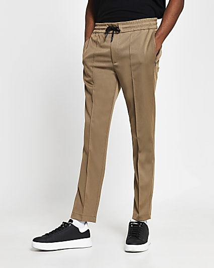 Brown slim fit tailored joggers