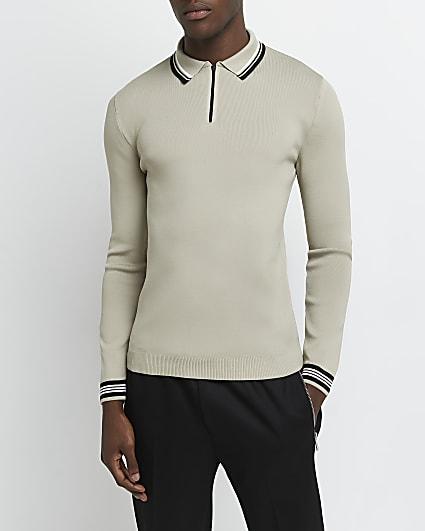 Brown slim fit zip long sleeve polo shirt