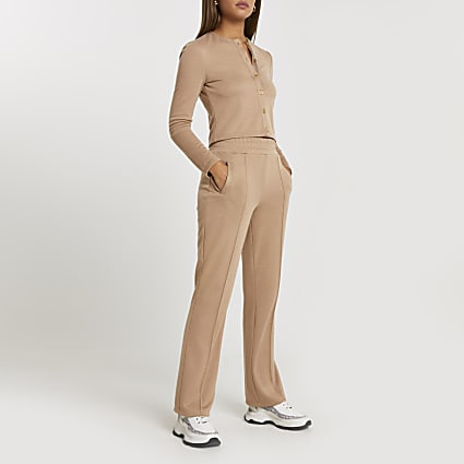 Brown slim wide leg smart joggers