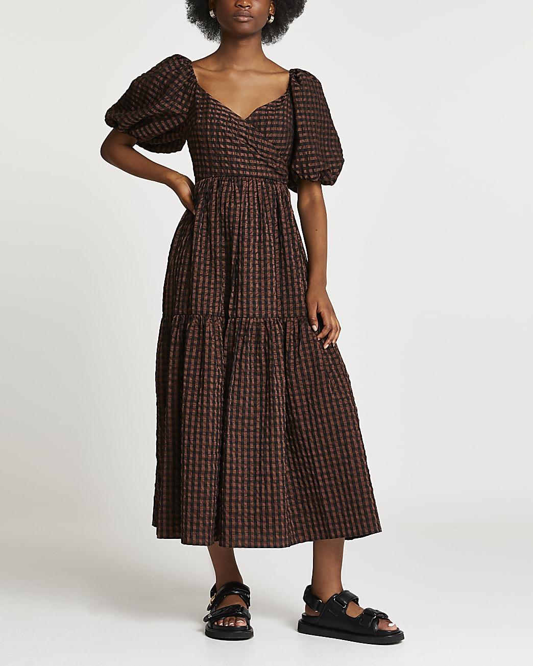 Brown smock gingham maxi dress