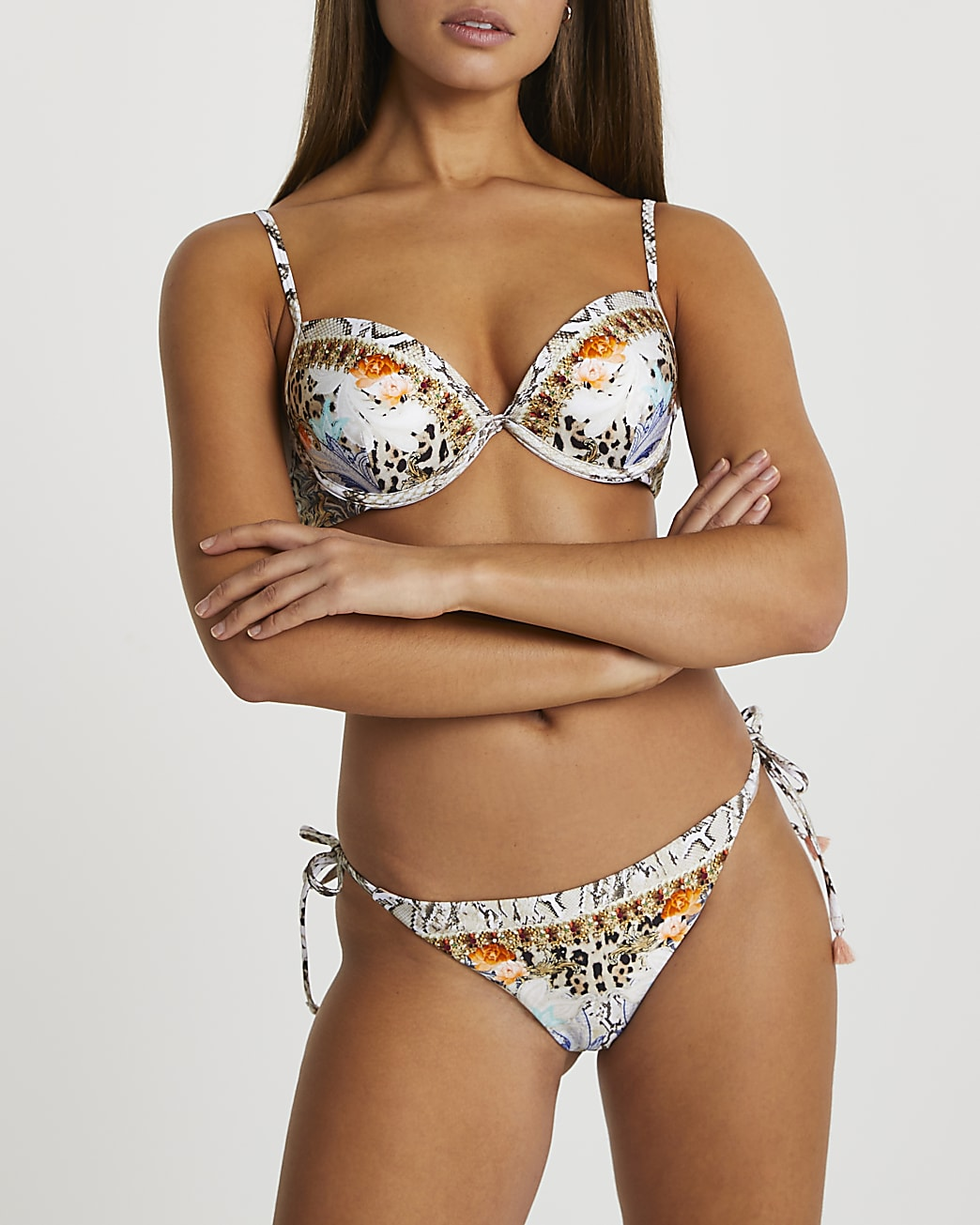 Brown snake & floral tie side bikini briefs