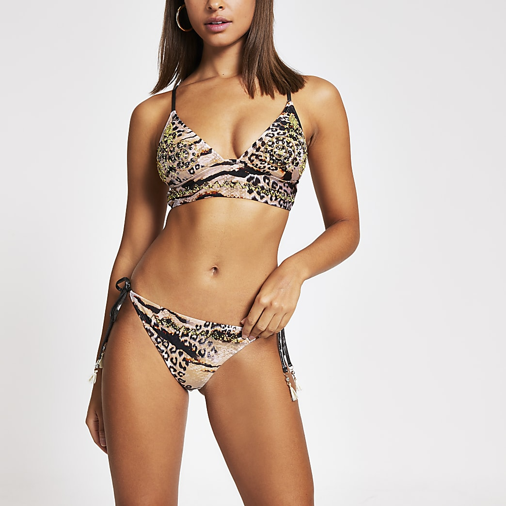 Brown snake embellished tie bikini bottoms