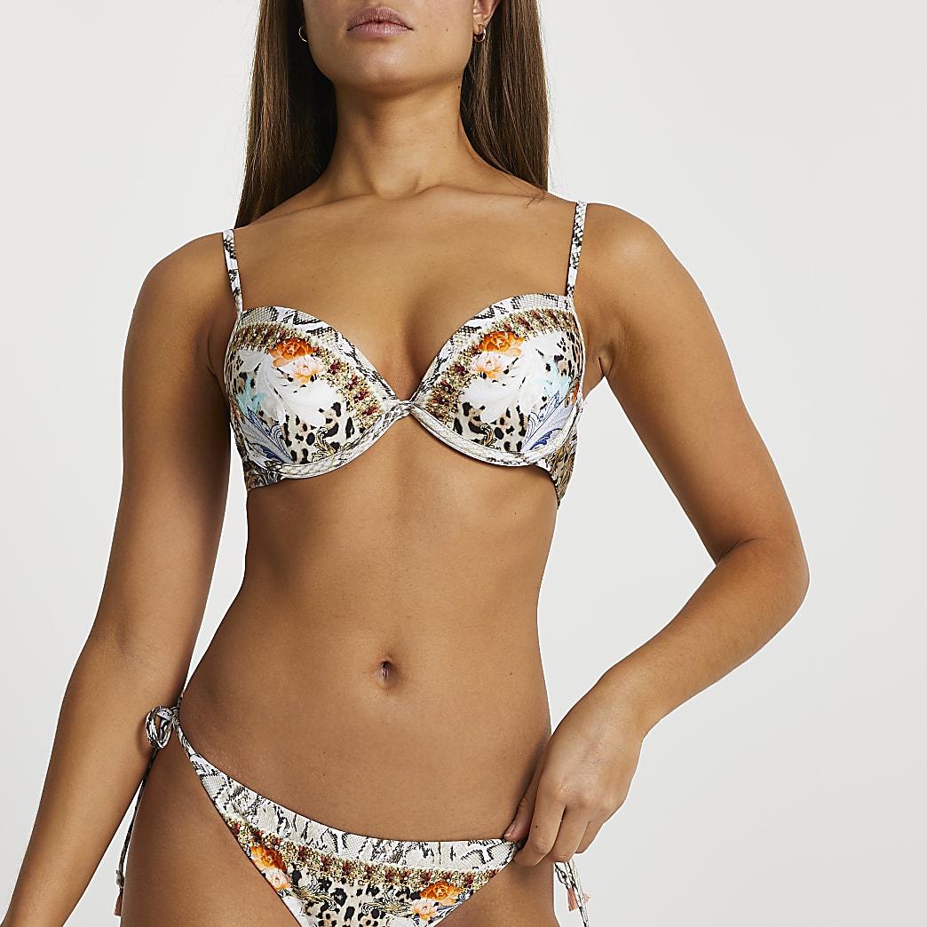 Brown snake floral print plunge bikini top