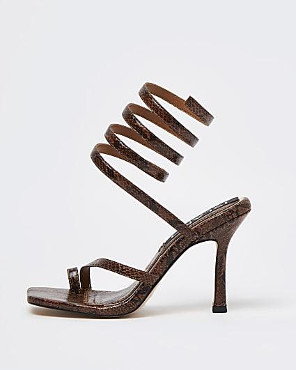 Brown snake print ankle wrap heels