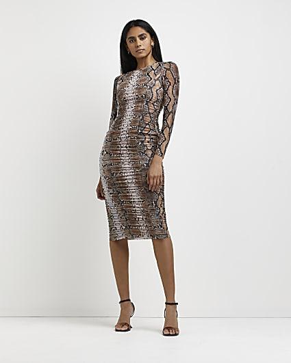 Brown snake print bodycon midi dress