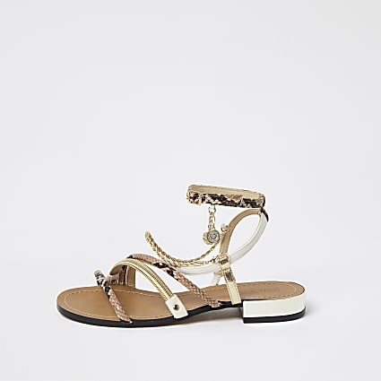 Brown snake print chain trim sandals