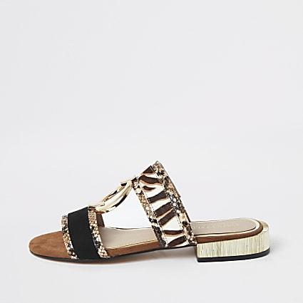 Brown snake print flat Mule sandal