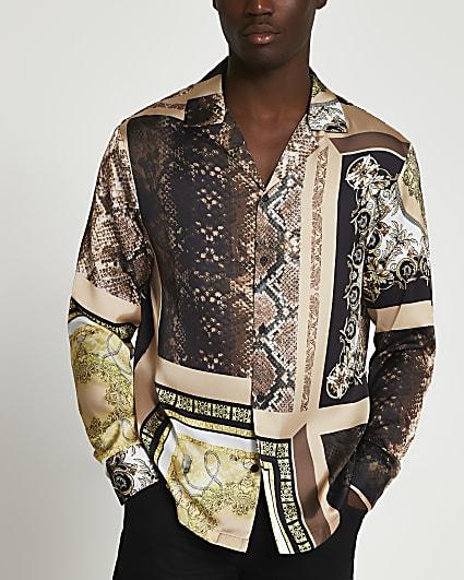 Brown snake print long sleeve revere shirt