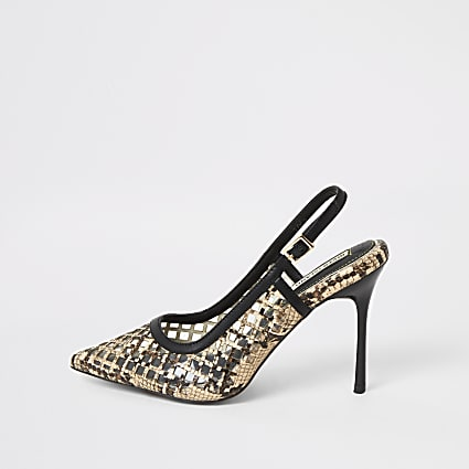 Brown snake print mesh perspex court shoes