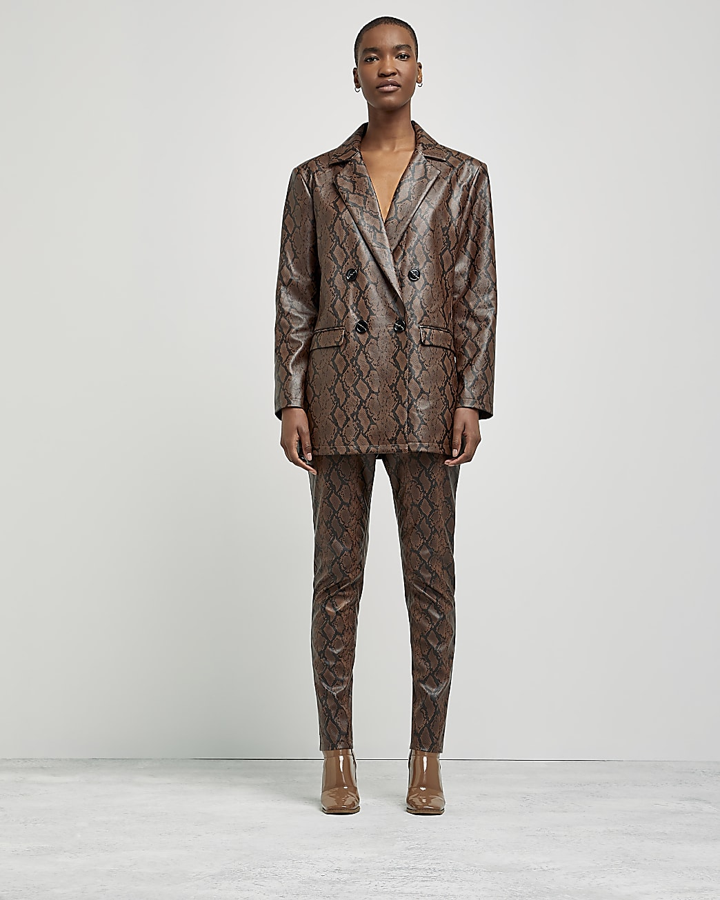 Brown snake print oversized blazer