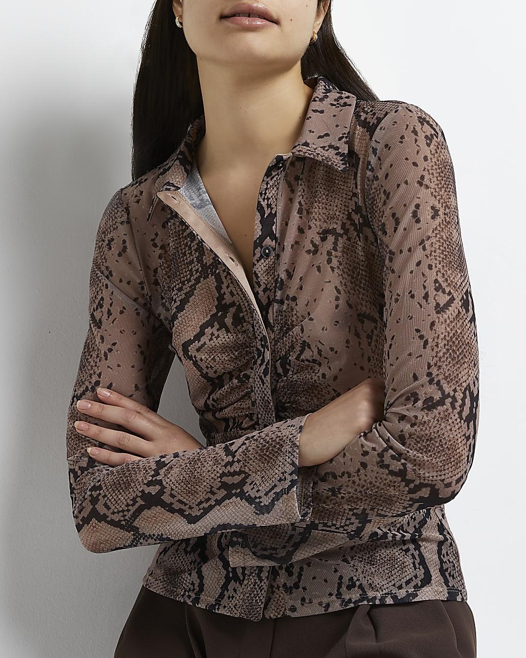 Brown snake print ruched shirt
