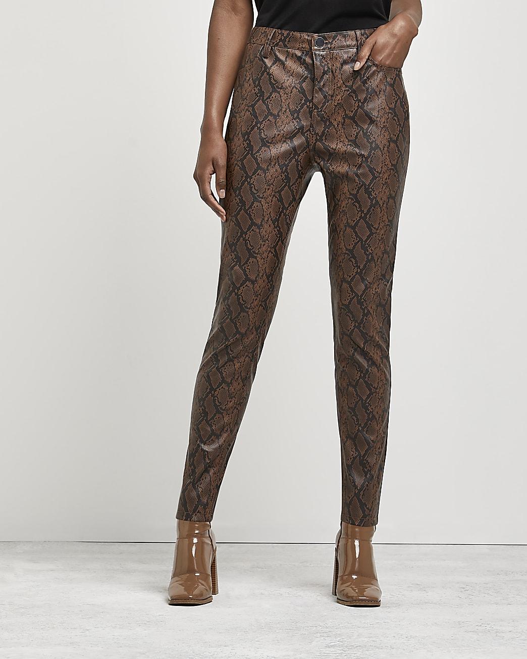 Brown snake print skinny trousers