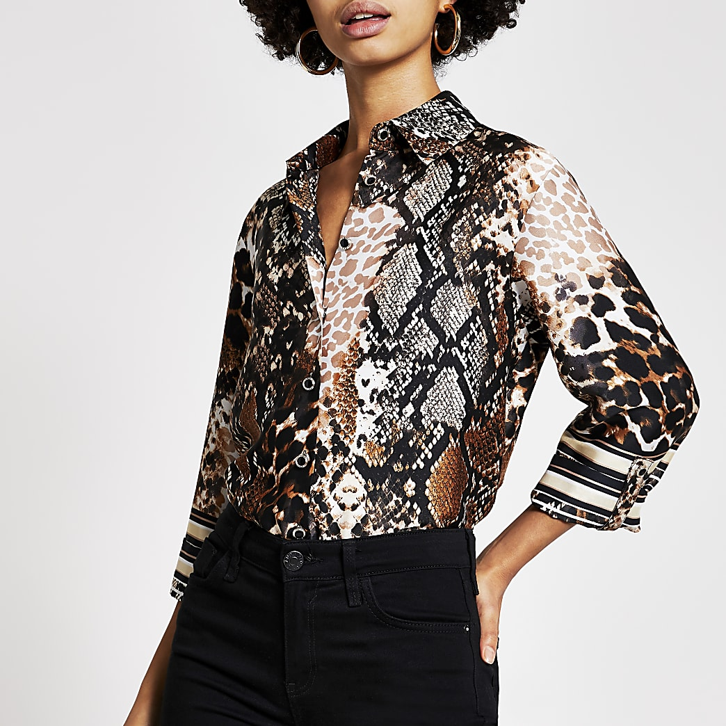 Brown snake printed boyfriend shirt