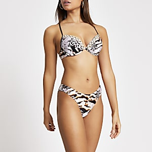 Brown snake printed high leg bikini bottoms
